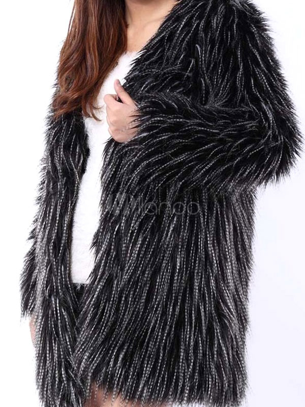Milanoo / Faux Fur Winter Coat Black V Neck Long Sleeve Oversized Winter Coat For Women