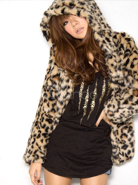 Buy Faux Fur Coat Women Leopard Print Hooded Long Sleeve Oversized Winter Coat for $71.99 in Milanoo store