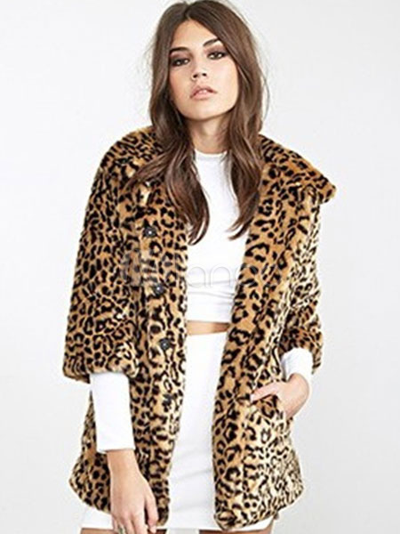 Buy Faux Fur Coat Leopard Print Turndown Collar Half Sleeve Oversized Winter Coat for $67.53 in Milanoo store