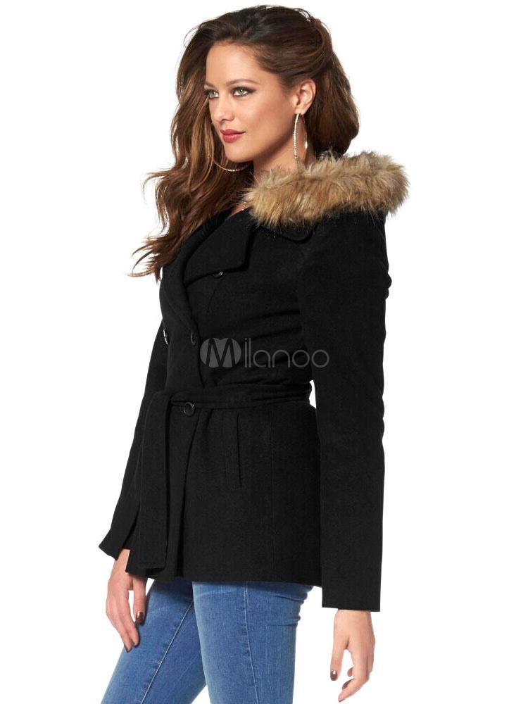 beau manteau femme laine de plaine noir unicolore avec. Black Bedroom Furniture Sets. Home Design Ideas