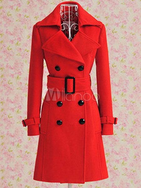 Women Red Peacoat Long Sleeve Double Breasted Button Belt Woolen Overcoat Cheap clothes, free shipping worldwide