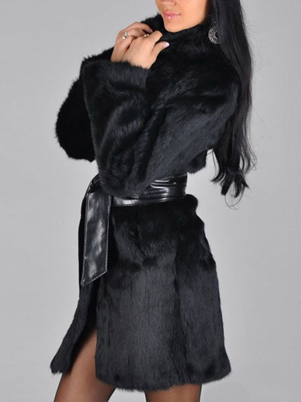 guetter grand Prix acheter pas cher Manteau Fausse Fourrure Femme Manches Longues Veste Noire longue
