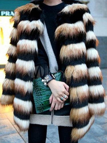 Faux Fur Coat Women Stripe Two Tone Long Sleeve Winter Overcoat Cheap clothes, free shipping worldwide