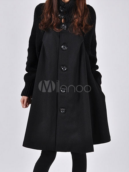 Black Wool Coat Women's High Collar Long Sleeve Front Button Oversize Winter Coat