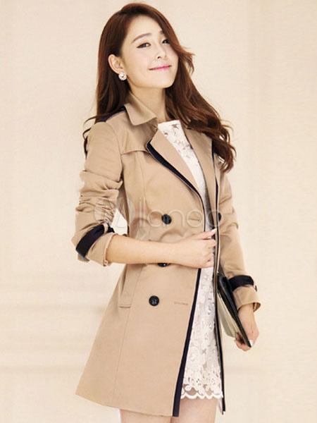 Women Trench Coat Khaki Long Sleeve Sash Double Breasted Rain Coat Cheap clothes, free shipping worldwide