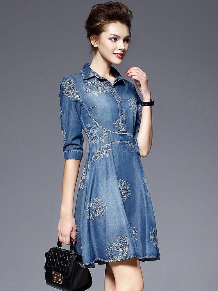 Blue Denim Dress Women's Embroidered Turndown Collar Half Sleeve Half Buttons Skater Dress Cheap clothes, free shipping worldwide
