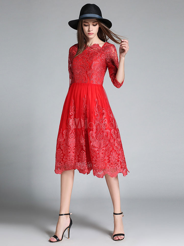 Rote Spitze Kleid Frauen bestickt Bateau Ausschnitt halbe Ärmel Slim ...