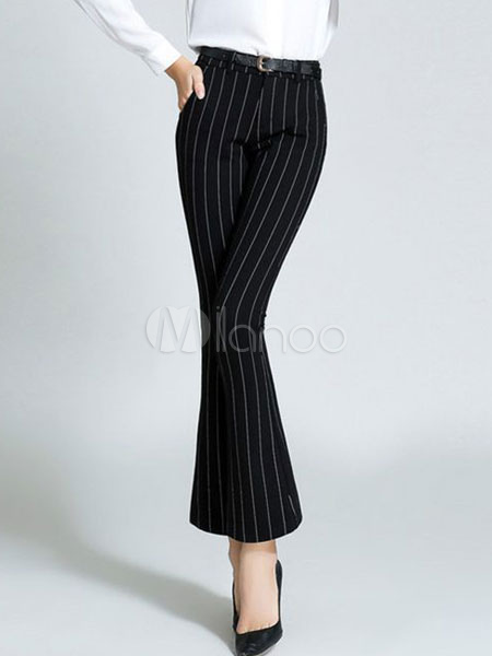 Women's Black Pants Striped Slim Fit Flared Cropped Pants Cheap clothes, free shipping worldwide