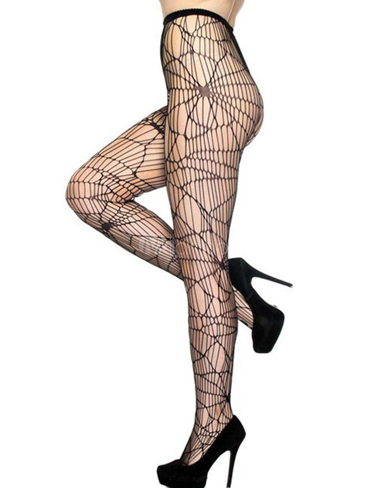 Sexy Black Pantyhose Women's High Waist Cut Out Nylon Stretchy Tights