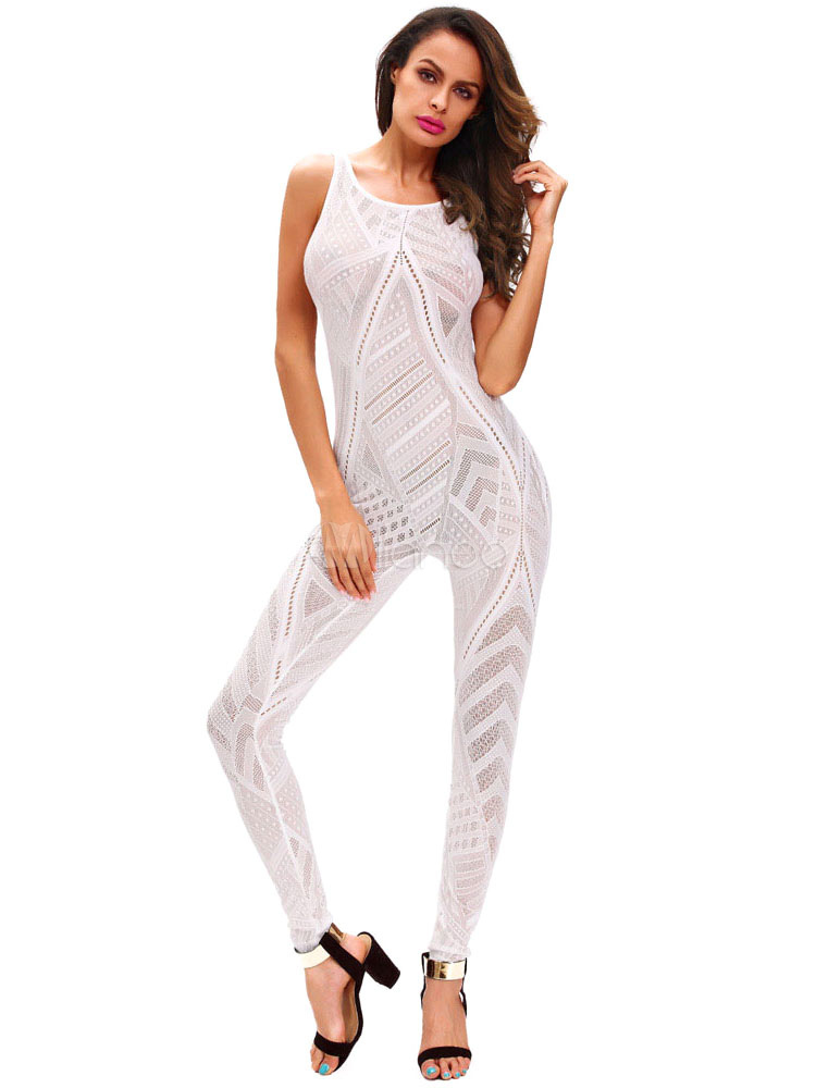 Buy White Long Jumpsuit Sleeveless Women's Hollow Out Skinny Leg Jumpsuit for $23.74 in Milanoo store