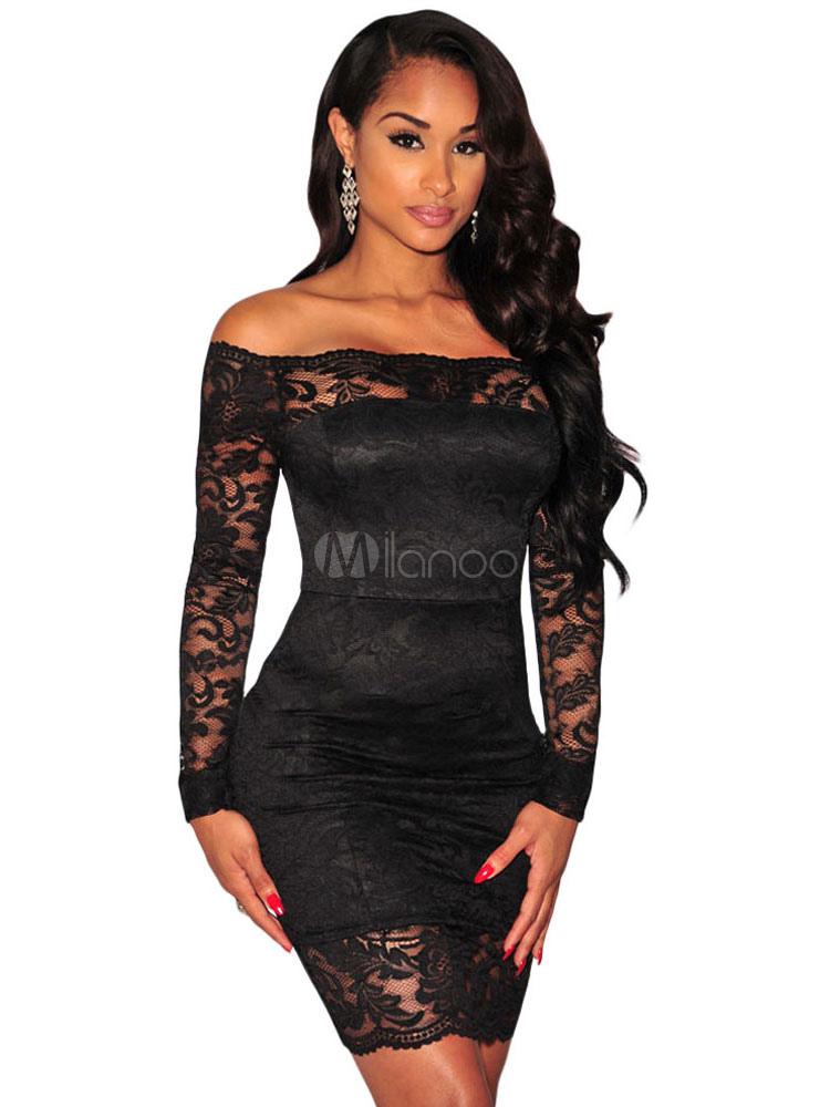 Vestido negro a los hombros