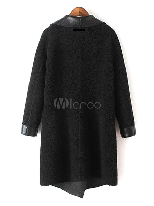 ... Con revers lana cappotti agnello nero oversize di lana manica lunga in  pelle giuntati a giacche e5244982315