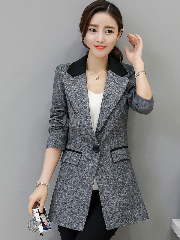 Women's Grey Blazer Notch Collar Long Sleeve Slim Fit Casual Blazer With Pockets Cheap clothes, free shipping worldwide