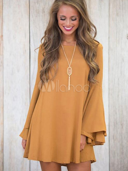 Buy Yellow Shift Dress Women's Round Neck Flared Long Sleeve Short Chiffon Dress for $16.76 in Milanoo store