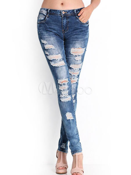 Buy Blue Ripped Jeans 2018 Cut Out Zipper Fly Skinny Denim Pants For Women for $16.59 in Milanoo store