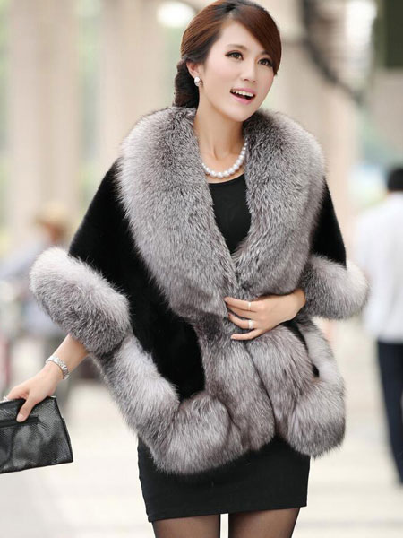 Faux Fur Cape Coat Women's Solid Color Fur Poncho Outwear For Winter Cheap clothes, free shipping worldwide