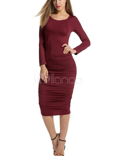 Buy Burgundy Bodycon Dress Round Neck Slim Fit Long Sleeve Slim Fit Shaping Sheath Dress For Women for $17.99 in Milanoo store