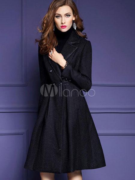 best loved 3c09a 5fe3f Cappotto nero maniche lunghe bavero pulsante donne svasato cappotto per  l'inverno