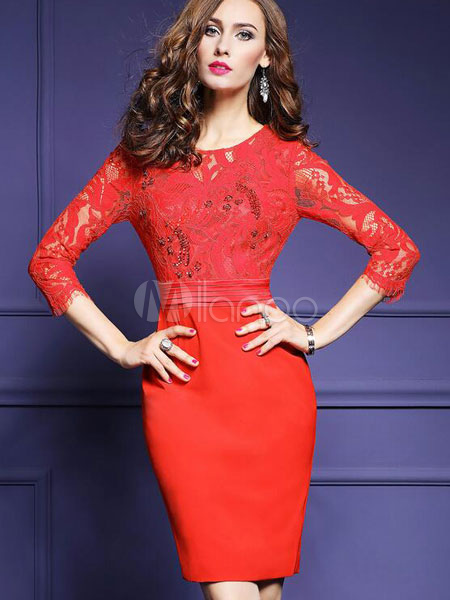 Red Bodycon Dress Lace Round Neck 3/4 Length Sleeve Slim Fit Sheath Dress For Women