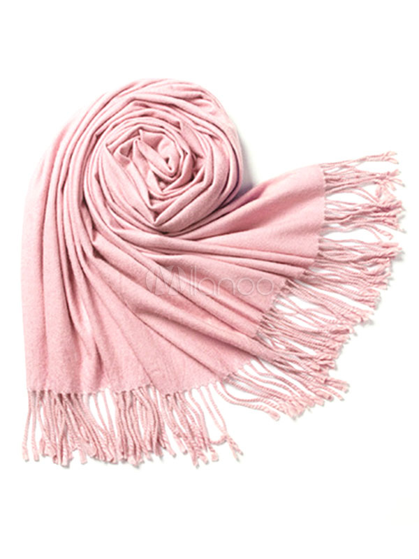 Pink Wool Scarf Women's Solid Color Fringe Soft Scarf For Winter