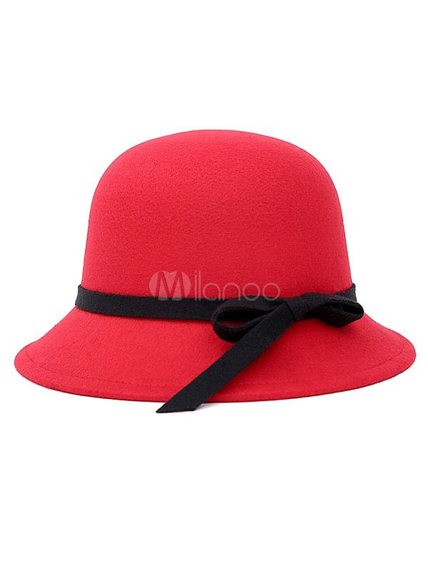 Red Cloche Hat Women's Round Top Bow Ribbon Woolen Felt Hat For Winter