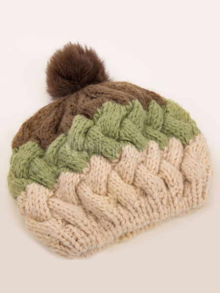 Wool Crochet Hat Women's Color Block Knit Pom Poms Bobble Hat