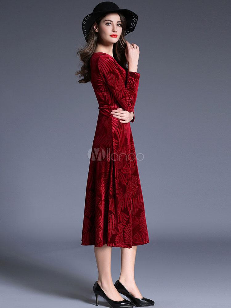 ... Burgundy Maxi Dress Velvet Sweetheart Neckline Long Sleeve Jacquard  Women's Pleated Tea Length Winter Dress- ...