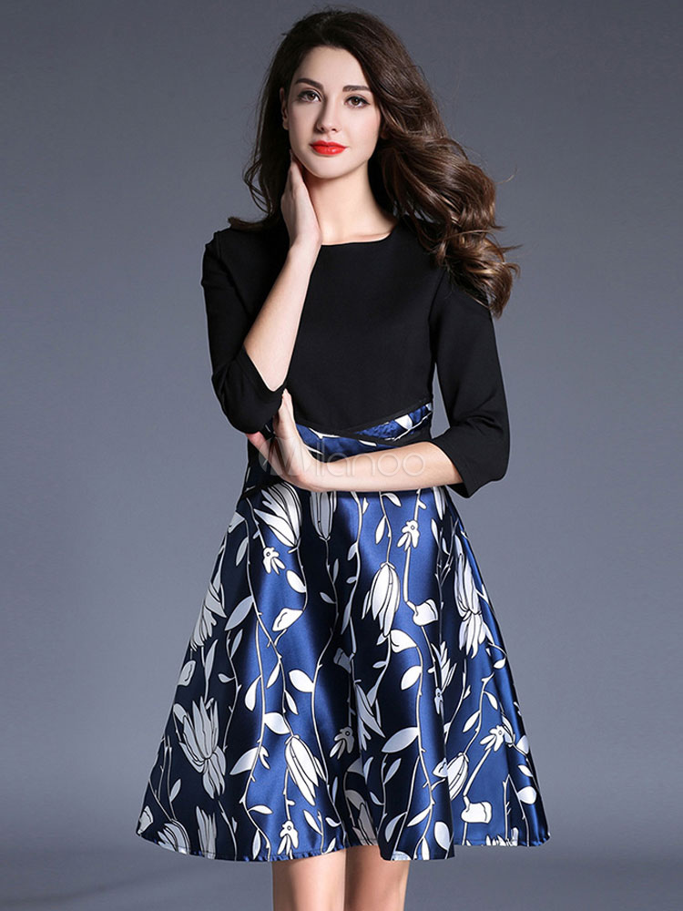 Buy Women's Skater Dress Chic Round Neck 3/4 Length Sleeve Floral Print Pleated A-Line Flare Dress for $44.99 in Milanoo store