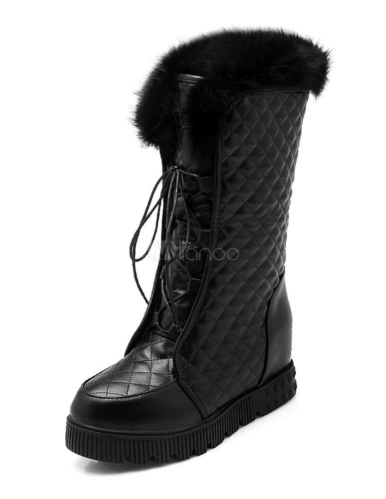 b2aaf61f5697e ... White Short Boots Fur Top Lace Up Women s Warm Winter Boots-No. ...