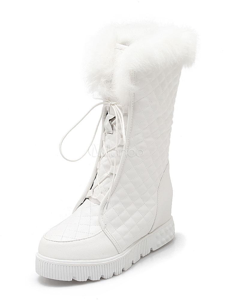 076ae46ee49de White Short Boots Fur Top Lace Up Women s Warm Winter Boots-No. ...