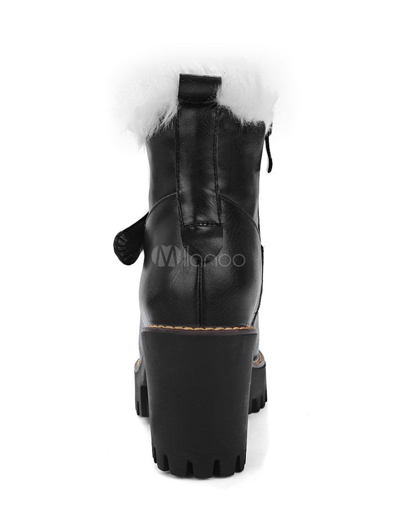 schwarzen stiefel mit fellrand