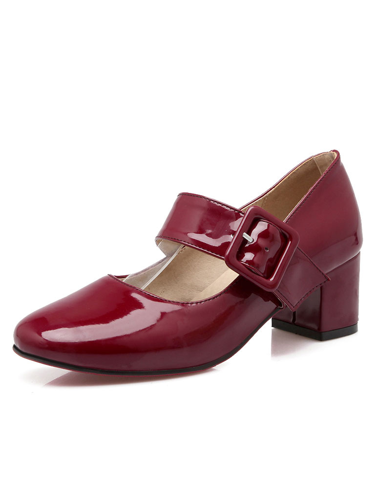 Buy Mary Jane Shoes Chunky Heel Square Toe Buckle Pumps For Women for $31.49 in Milanoo store