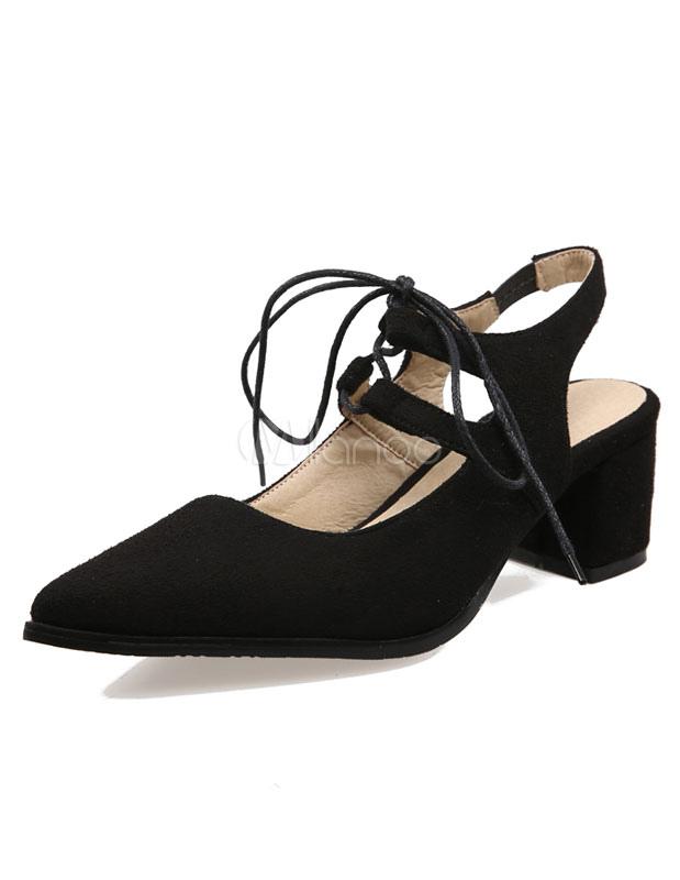 Zapatos de tacón medio con pala de gamuza color liso con tirantes estilo moderno 7Gqfur8