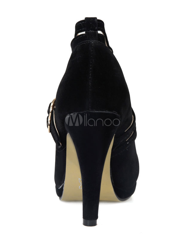 f63bdd8eb71a1d High Heel Pumps Plattform schwarze Wildleder Runde Criss-Cross Schuhe für  Frauen-No.