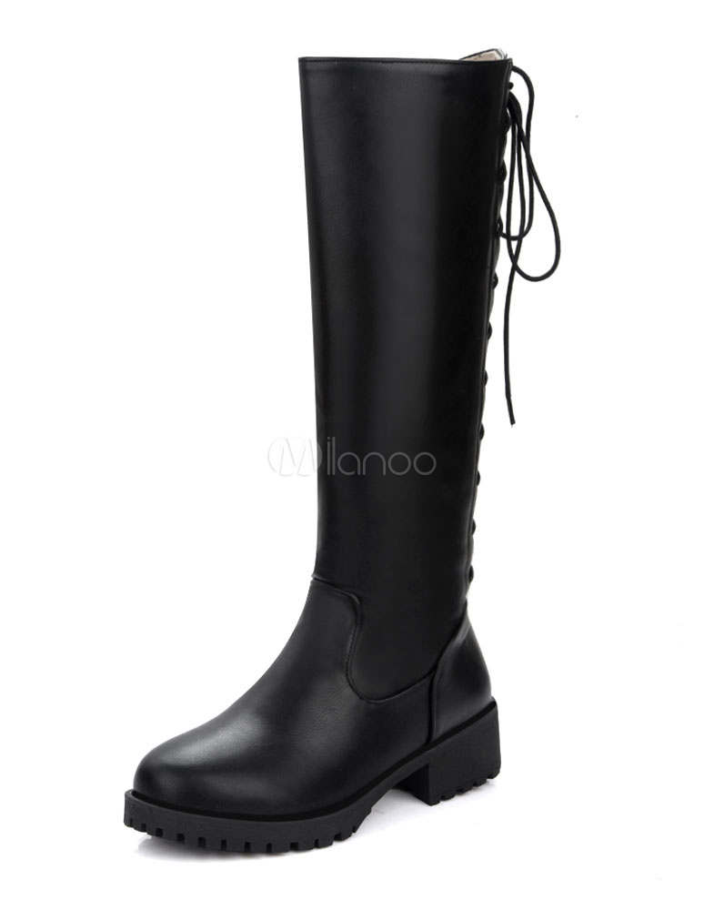 Buy Knee High Boots Platform Lace Up Chunky Heel Round Toe Winter Boots For Women for $40.49 in Milanoo store
