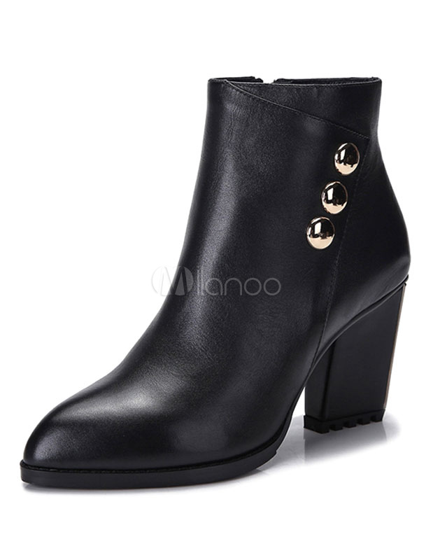 Buy Leather Ankle Boots Black High Heel Pointed Toe Women's Chunky Heel Booties With Metal Detail for $103.49 in Milanoo store