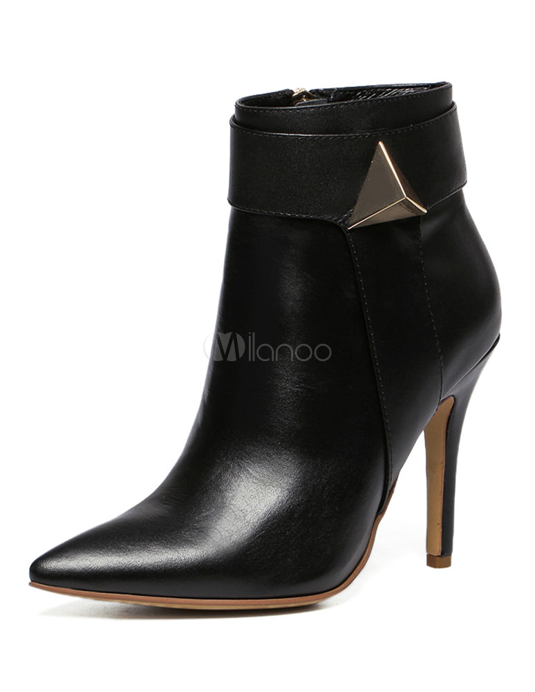 Buy Pointed Toe Booties Black High Heel Women's Ankle Boots With Metal Detail for $94.49 in Milanoo store