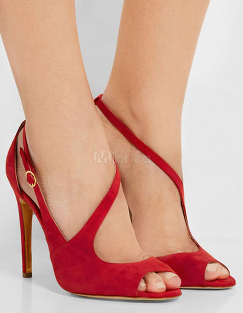 Buy Red Dress Sandals High Heel Peep Toe Suede Strap Evening Shoes For Women for $73.99 in Milanoo store
