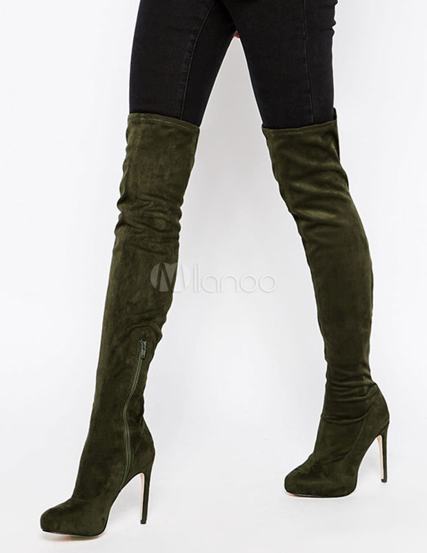 05e7556135b83 Suede Stretch Boots Over Knee High Heel Platform Thigh High Boots For Women