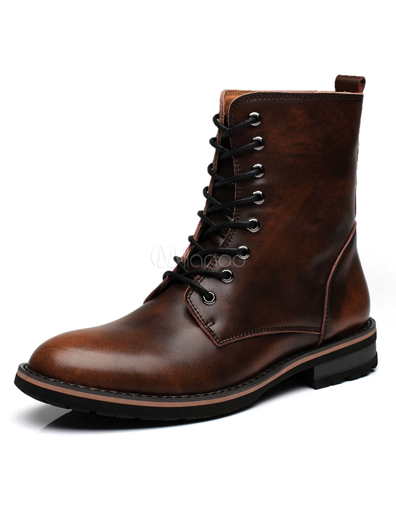 Men's Martin Boots Lace Up High Top Solid Color Winter Boots