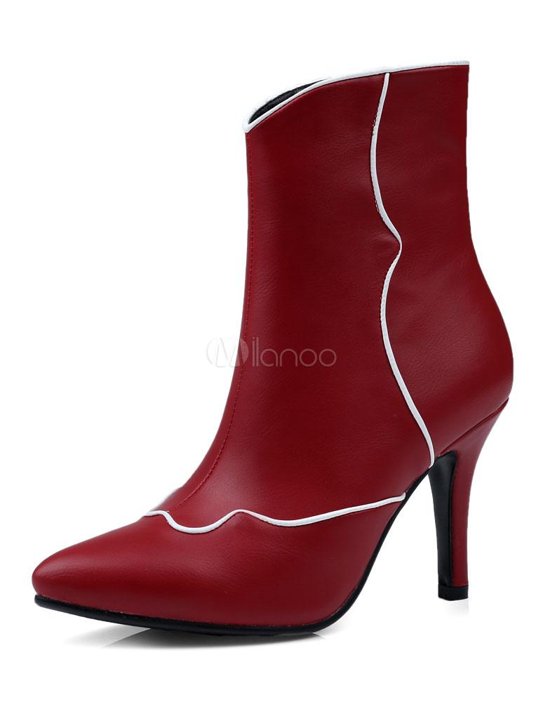 wei e stiefeletten high heels spitz zehen stiletto. Black Bedroom Furniture Sets. Home Design Ideas