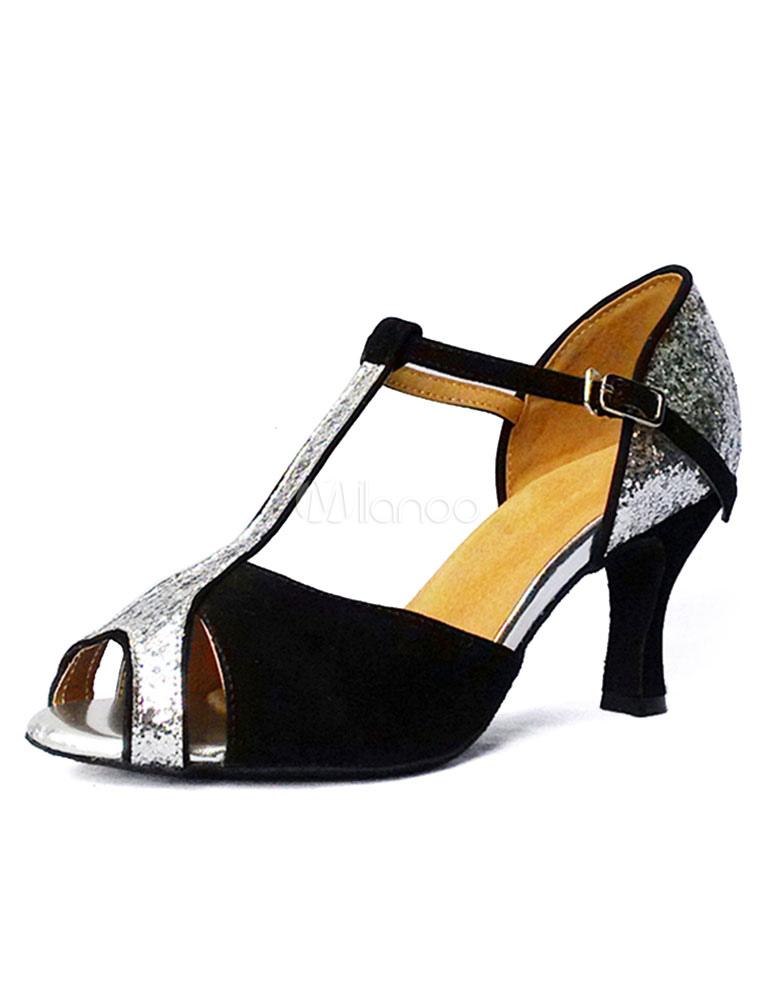 Zapatos de bailes latinos negros color liso estilo moderno xSwbKGf7e
