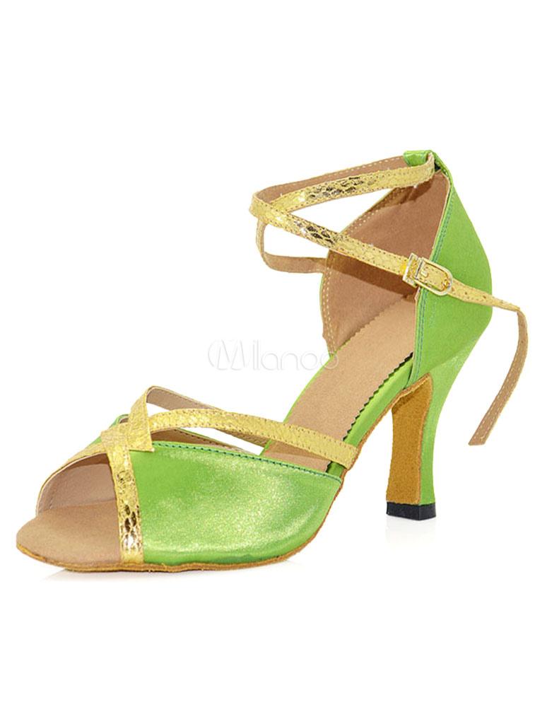 Zapatos de bailes latinos de seda y satén verdes color liso estilo moderno MlJLDIe1v