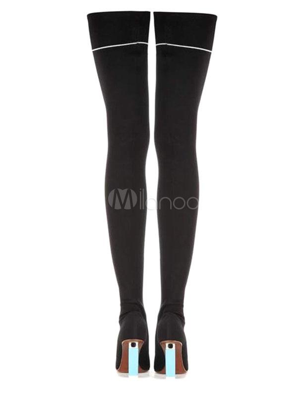 Botas sobre la rodilla con pala de spandex Color liso estilo moderno XFmJb3
