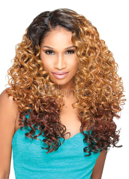 Buy Women's Wigs Hair African American Light Tan Side Parting Tousled Long Curly Synthetic Hair for $22.79 in Milanoo store