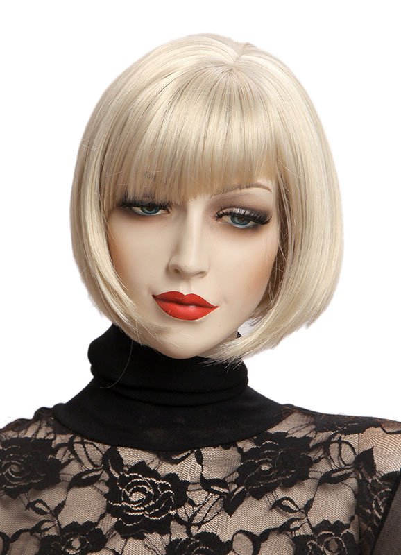 Women's Blond Bobs Short Wigs Straight Hair Wigs With Side-swept Bangs