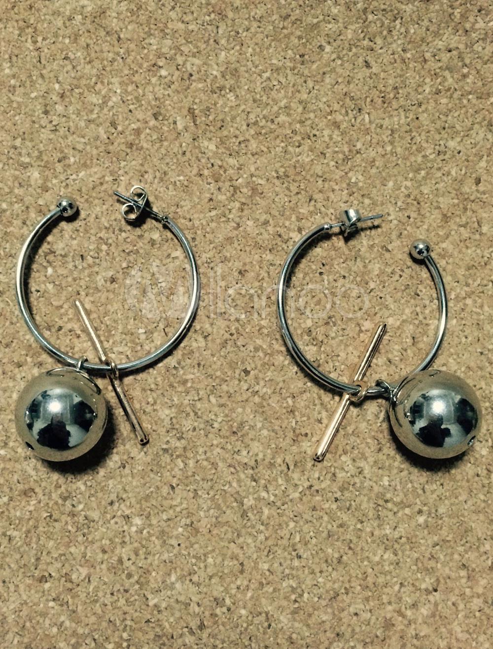 Silver Hoop Earrings Women's Punk Ball Pierced Round Shape Ring Earrings