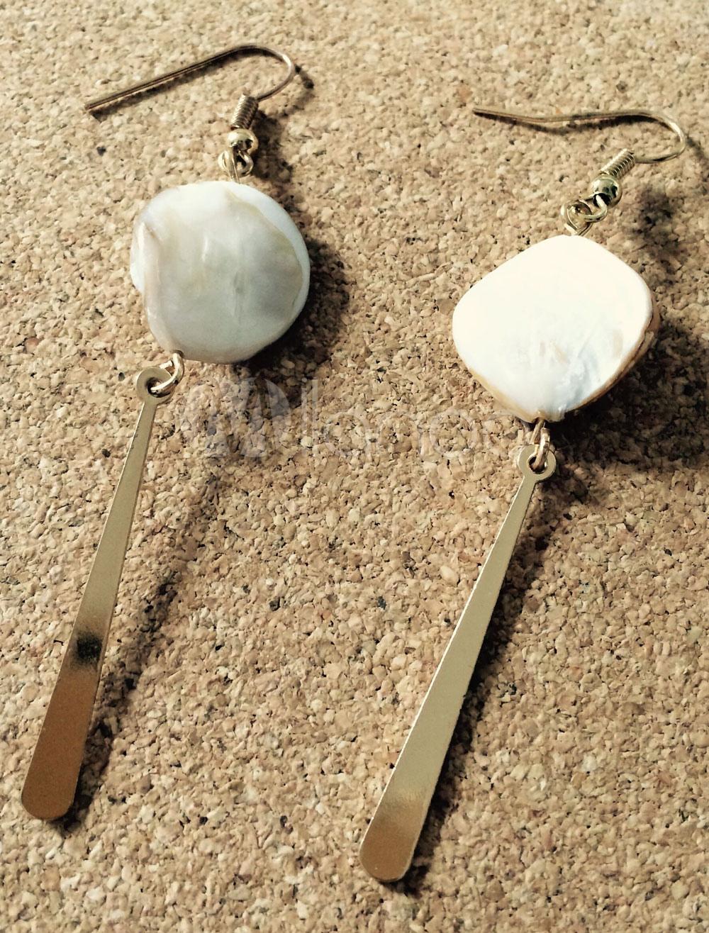 Buy Pearl Shell Earrings Gold Women's Pierced Punk Dangle Earrings for $9.19 in Milanoo store