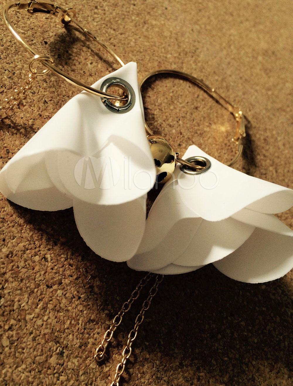 Buy White Dangle Earrings Chain Flowers Bell Women's Pierced Hoop Dangle Earrings for $9.19 in Milanoo store