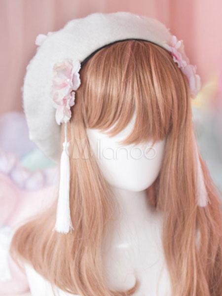 92315cf01a2b6 Sweet Lolita Hat White Wool Flower Pearls Beaded Lolita Beret Hat-No.1 ...